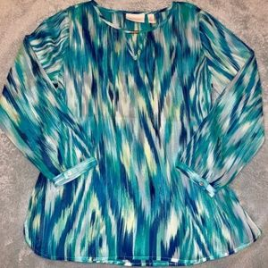 Chico's Sheer Turquoise/Blue Blouse